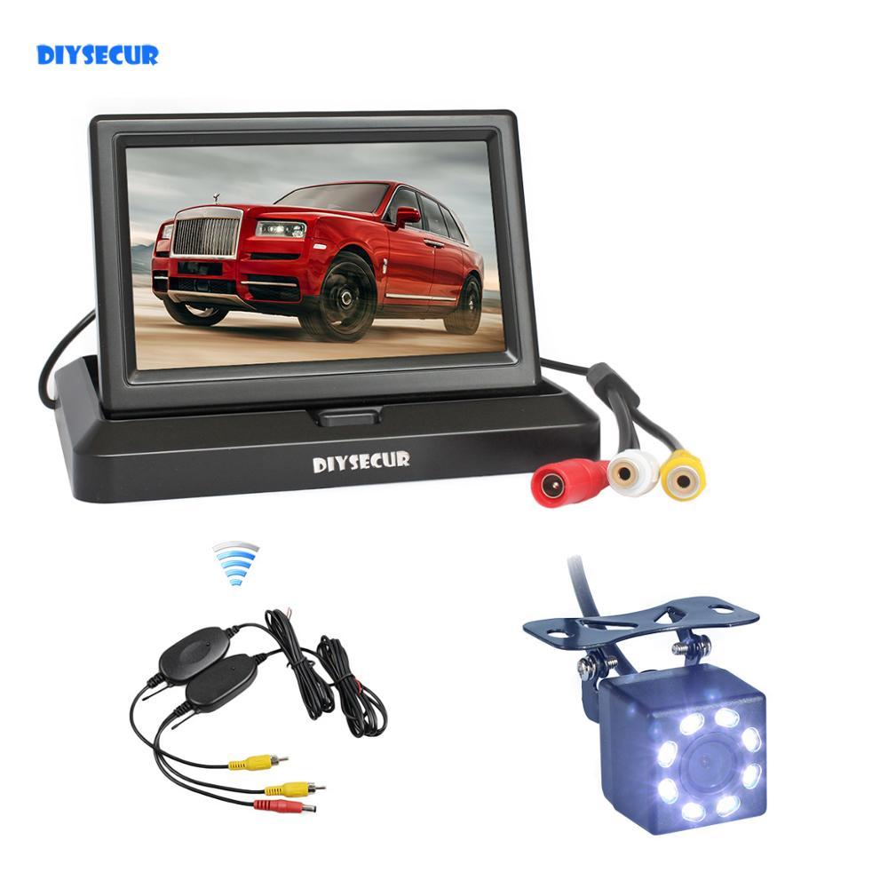 Monitor DIYSECUR inalámbrico HD de 5 pulgadas para coche, cámara LED de marcha atrás para coche, visión nocturna de Color, espejo retrovisor, Kit de cámara de seguridad HD