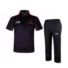 2020 New Ice Silk Daiwa Fishing Clothing Sets Men UPF 50+ Sun Protection Outdoor Summer Short Sleeve Fishing T Shirt Pants