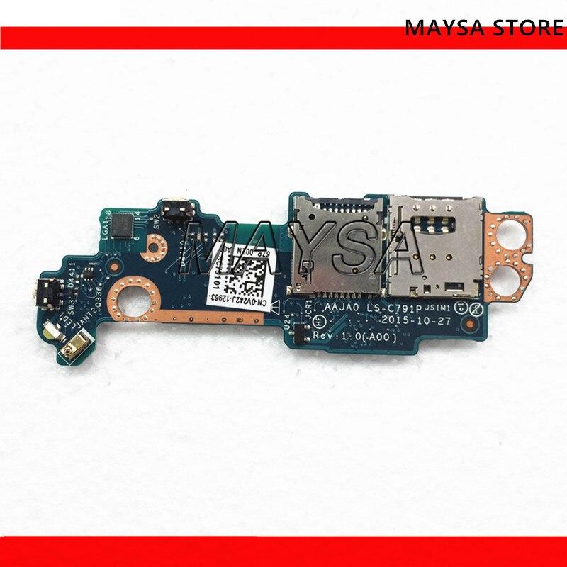 LS-C791P compatible con Dell para tableta Latitude 5175 5179, lector de tarjetas SIM SD, placa de circuito hija con botón de encendido V242J 0V242J