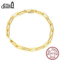 effie queen 14k gold plated genuine sterling silver paperclip link chain bracelet for women men teen girls bracelet italy sb109