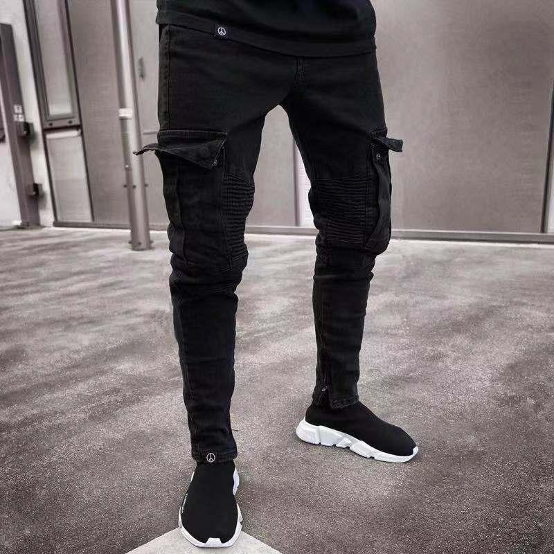 Брюки мужские большого размера, повседневные Модные эластичные облегающие джинсы на молнии, с дырками, штаны в стиле кэжуал, цвет черный
