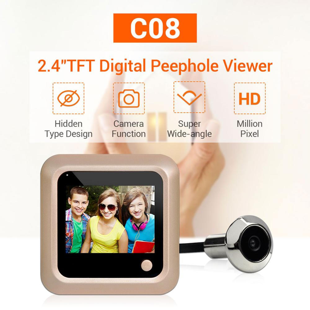 2.4 inch  LCD Display 160 Degree Wide Angle  Visual Video Doorbell Long Time Standby Peephole Viewer Door Camera