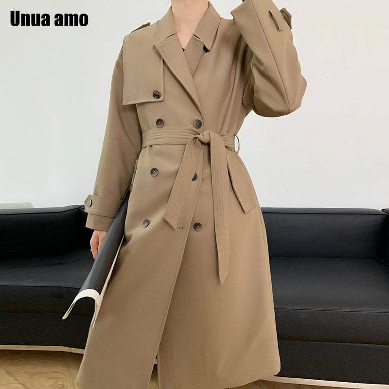 Женский Длинный свободный тренчкот Unua amo, повседневная двубортная ветровка с поясом в студенческом стиле, весна-осень 2021