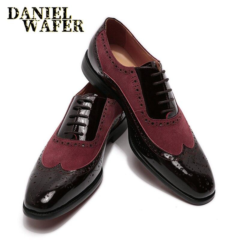 Zapatos de vestir formales italianos de lujo de charol Oxford para hombres de ante puntiagudos con cordones para boda Oficina Casual zapatos de cuero para hombres