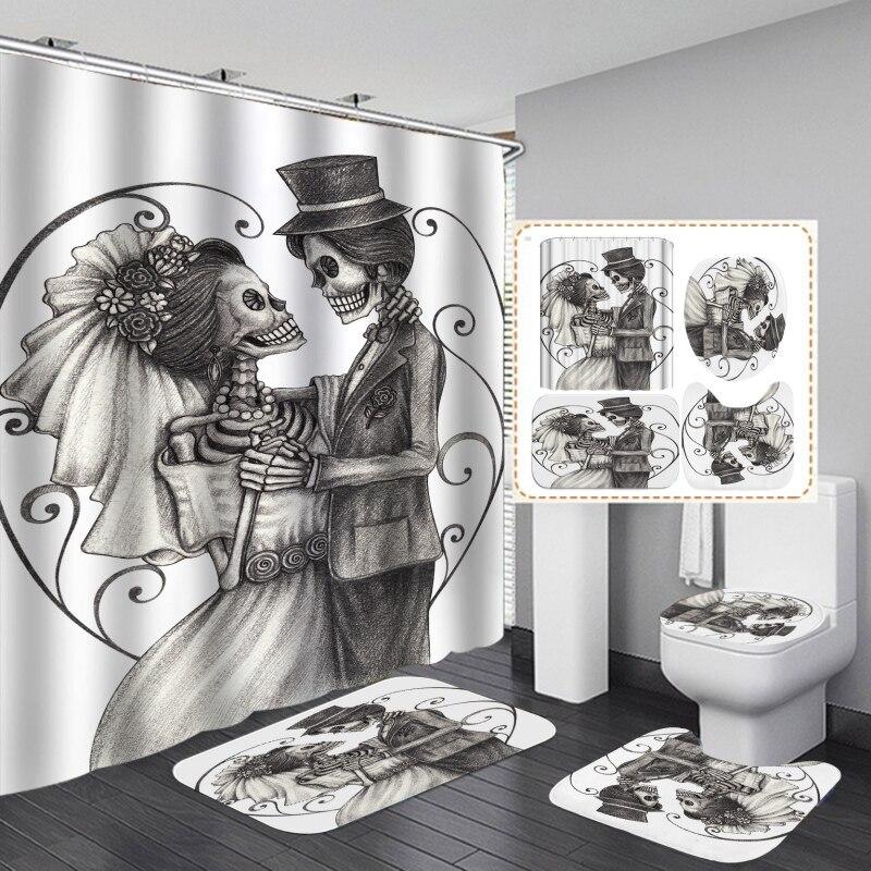 Set de cortina de ducha OCHINE, alfombrilla de baño con suelo, alfombrilla para inodoro, Impresión de Halloween, estilo romántico europeo y americano