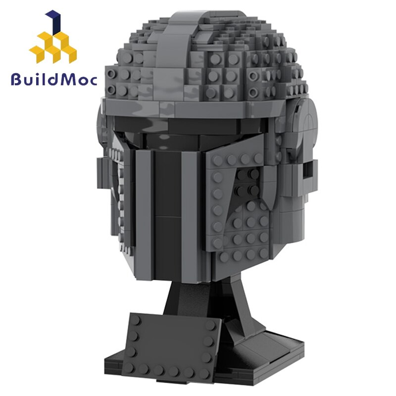 Buildmoc Star Movie Figures Mandalore's Helmet Statue Set MOC Model Building Blocks Toys For Children Creative Decorate Gifts