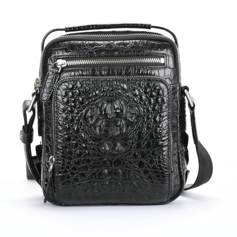 حقيبة جلد التمساح الفاخر للرجال ، حقيبة كتف فردية عصرية ، حقيبة يد من الجلد الطبيعي للترفيه والأعمال عالية الجودة