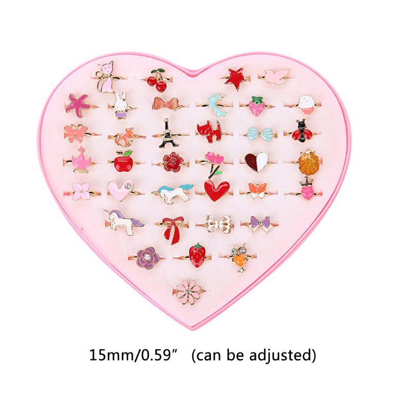 36 unids/set anillos de dibujos animados para niños flor Animal aleación ajustable anillo para niños modelo al azar