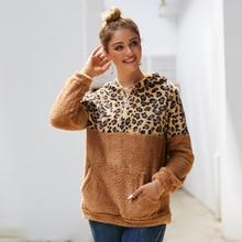 2019 Sweatshirt Tops Women Leopard Stitching Zip Up Hoodies Ladies Long Sleeve Warm Hoody Fall Winter Pastel Coat Clothes