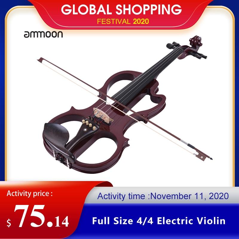 Venda quente ammoon VE-201 tamanho completo 4/4 madeira maciça silencioso violino elétrico bordo corpo ébano fingerboard pegs queixo resto