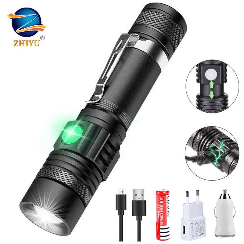 ZHIYU High Power Ultra Bright LED Flashlight T6 Lamp Bead Zoom Torch Waterproof USB Rechargeable Flash Lights 4 Modes Pen Lights