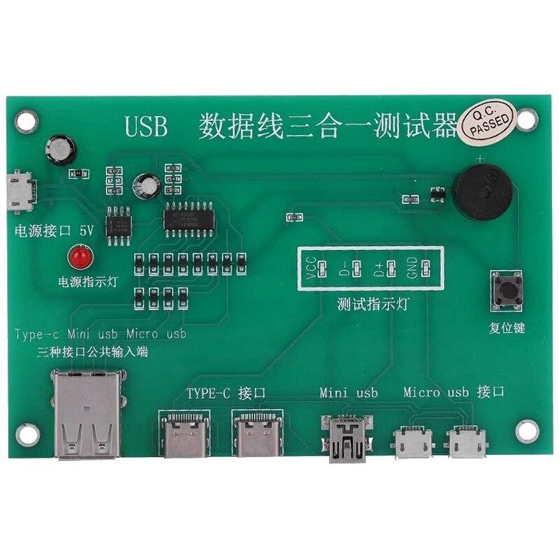 Probador de tríada de Cable USB 3 en 1, tarjeta de prueba de Cable de carga tpye-c, Mini USB, placa PCB, accesorio de prueba de Cable de datos