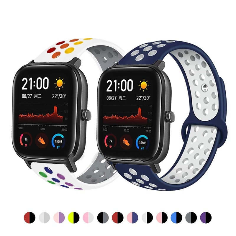 Breathable Silicone Strap For Xiaomi Huami Amazfit GTS 2E/GTS 2 Mini/GTR 42MM Smart Watch Sport Band For Amazfit Bip/Bip S U Pro