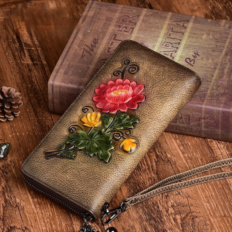 women genuine real leather box handbag small shoulder bag lady wrist clutch purse fashion casual chain bags satchel lady pouch Genuine Leather Women Wallets Luxury Embossed Designer Purse Vintage Daily Clutch Bags Fashion Lady Wristlet Handbag Card Holder