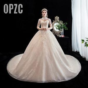 Fashion Elegant High Neck Luxury Lace Muslim Wedding Dress 2021 New Champagne Long Train Applique Princess Brida Robe De Mariee