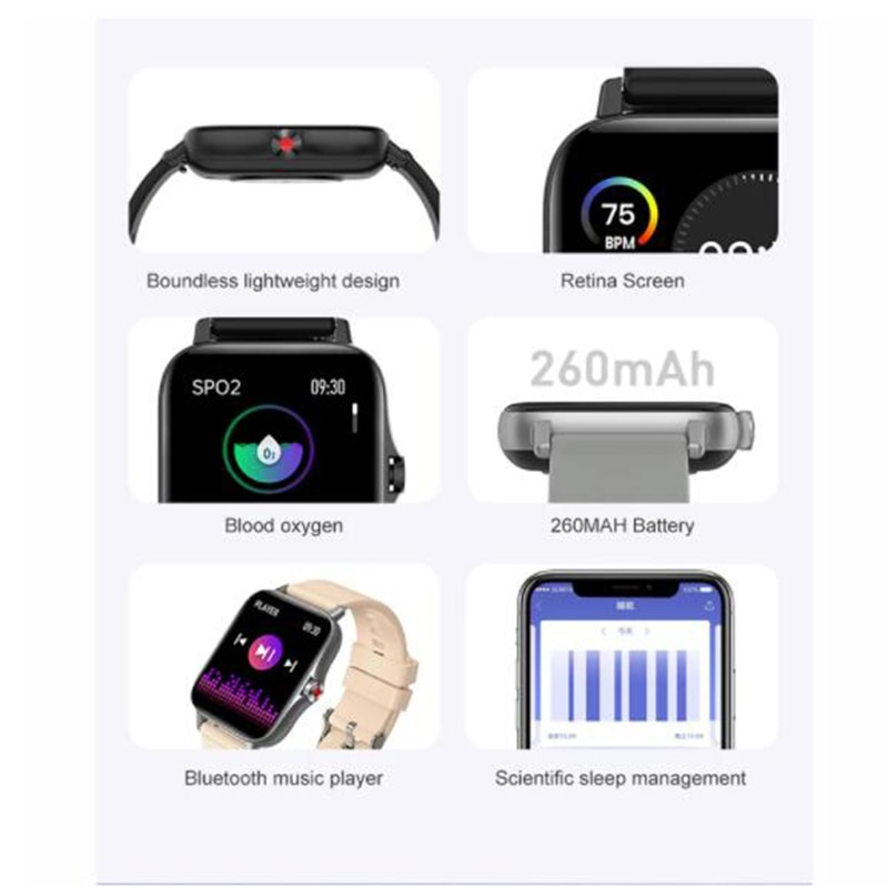 i18 Smart Watch Bluetooth Call 1.69 Inch Heart Rate Blood Pressure Monitoring Fitness Tracker Sports Waterproof For Xiaomi