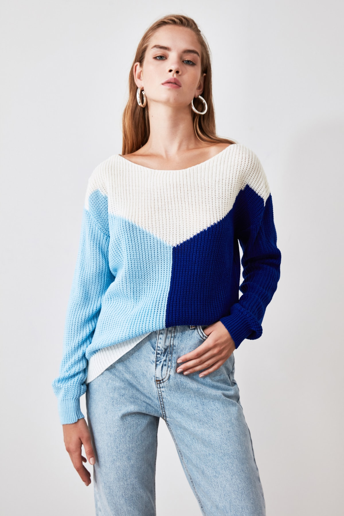 Trendyol With Color Block Boat Neckline Knitwear Sweater TWOAW21KZ0867