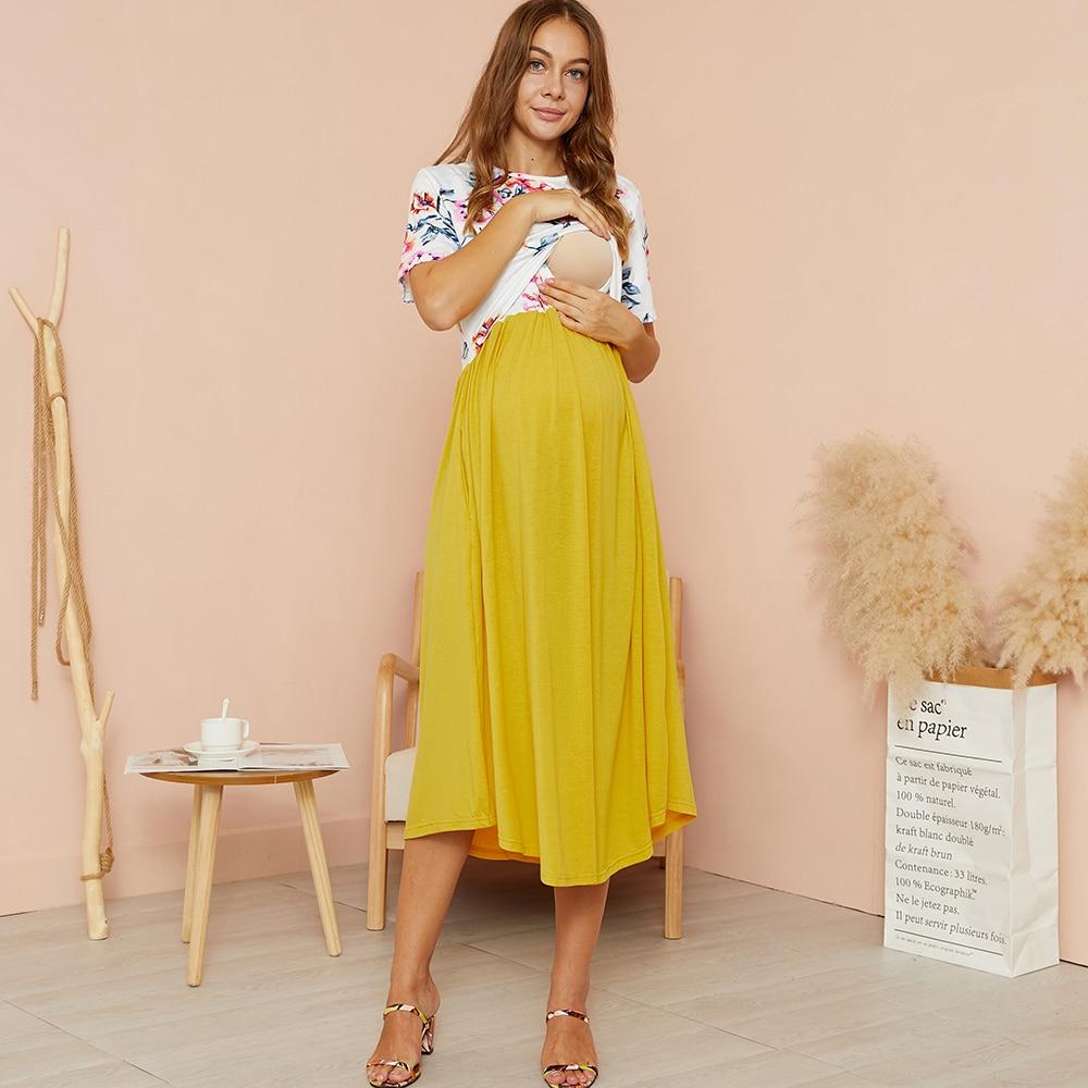 PatPat-فستان حمل أصفر متوسط الطول ، ياقة دائرية ، كتلة ملونة ، فستان رضاعة ، أكمام قصيرة ، مجموعة جديدة 2021