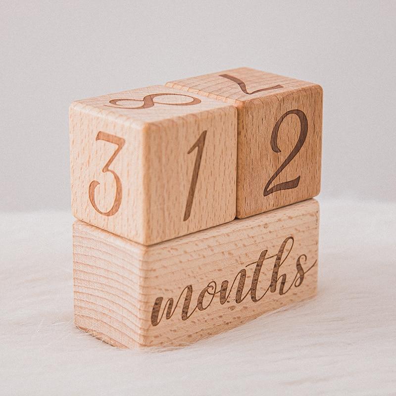 1 Набор детских памятных вех, ежемесячные деревянные блоки, фотография, месяц, наклейка для новорожденных, памятные возрастные карты, Фото а...