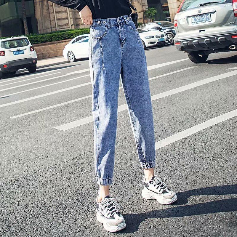 High Waist Jeans Women 2021 New Tight-Fitting Waist Nine-Point Pants Slimming Harem Pants Net Red Leggings Straight Leg S-5XL women s active high waist wave point culotte