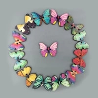 50pcs 28mm mixed color big hole one side butterfly wood beads for jewelry making sewing wooden buttons for needlework scrapbook
