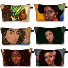 African Black Girls Cosmetic Case Woman Makeup Bag Leisure Designer Girls Shopping Mini Cosmetic Bag