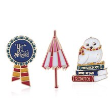 HP Jewelry Accosorries Hedwig Unbrella Brooch Pins Vintage Enamel Metal Pins for Clothes