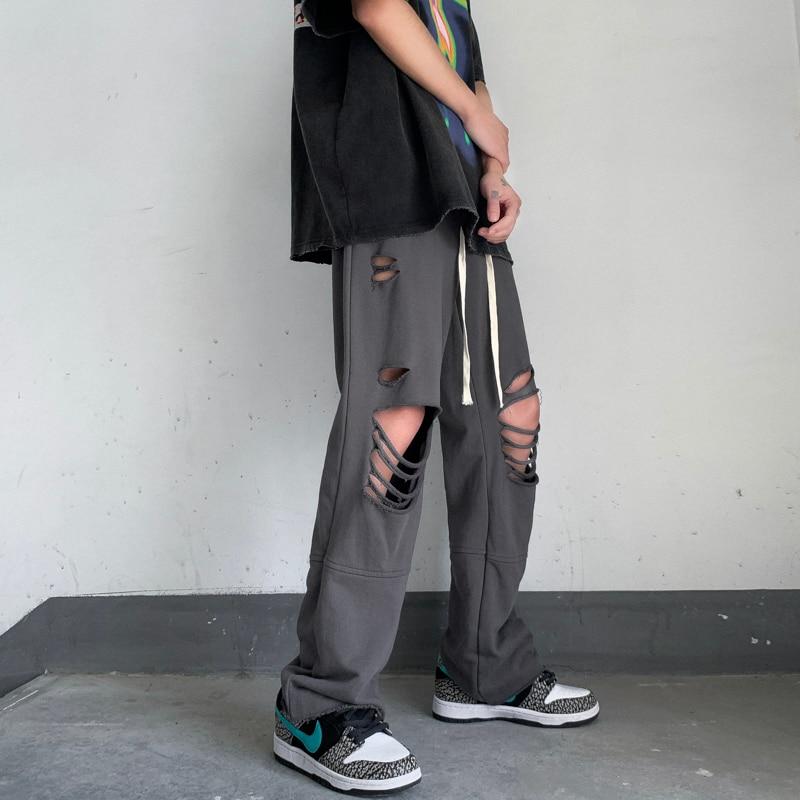 Mens Hole Ankle-length Pants 2021 New Summer Hip Hop Streetwear Harem Pants Men Harajuku Casual Trousers Mens Clothing