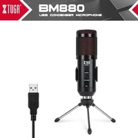xtuga usb condenser microphone recording mic usb podcast mic built in monitor with echo effect for pc recordingyoutubegaming