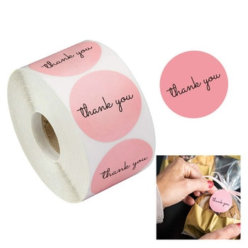 500Pcs/Roll Thank You Pink Stickers Self Adhesive Handmade Labels Wedding Gift Party Decoration