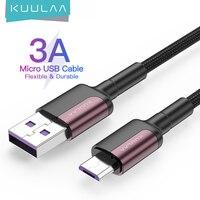 KUULAA микро USB кабель 3A нейлоновый кабель быстрой зарядки USB кабель для передачи данных для Samsung Xiaomi LG планшетный ПК с системой андроида и мобил...