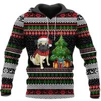 bulldog christmas tracksuit pullover crewneck 3d print casual hoodies new fashion unisex jacket p 8465