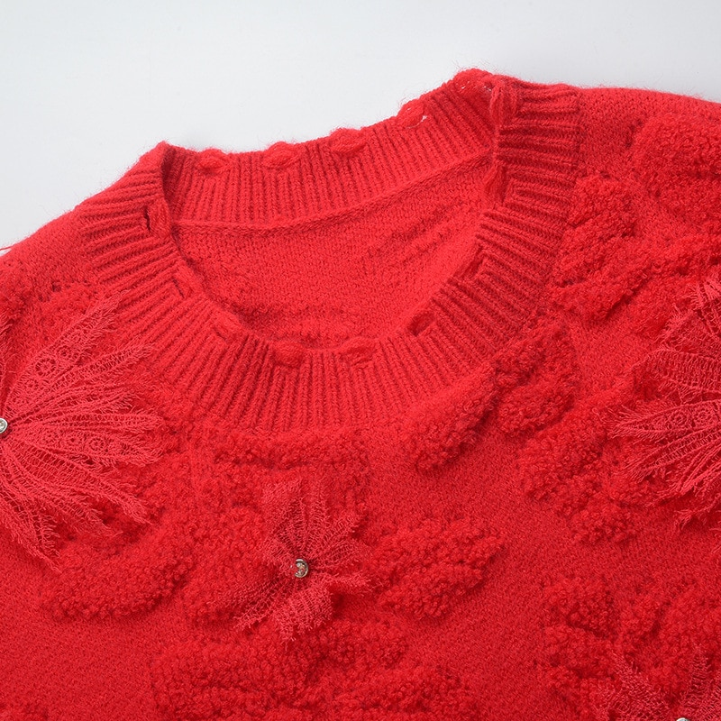 2021 Winter Warm Sweaters High Quality Women Appliques Flower Beading Deco Long Sleeve Casual White Red Knitted Sweater Pullover enlarge