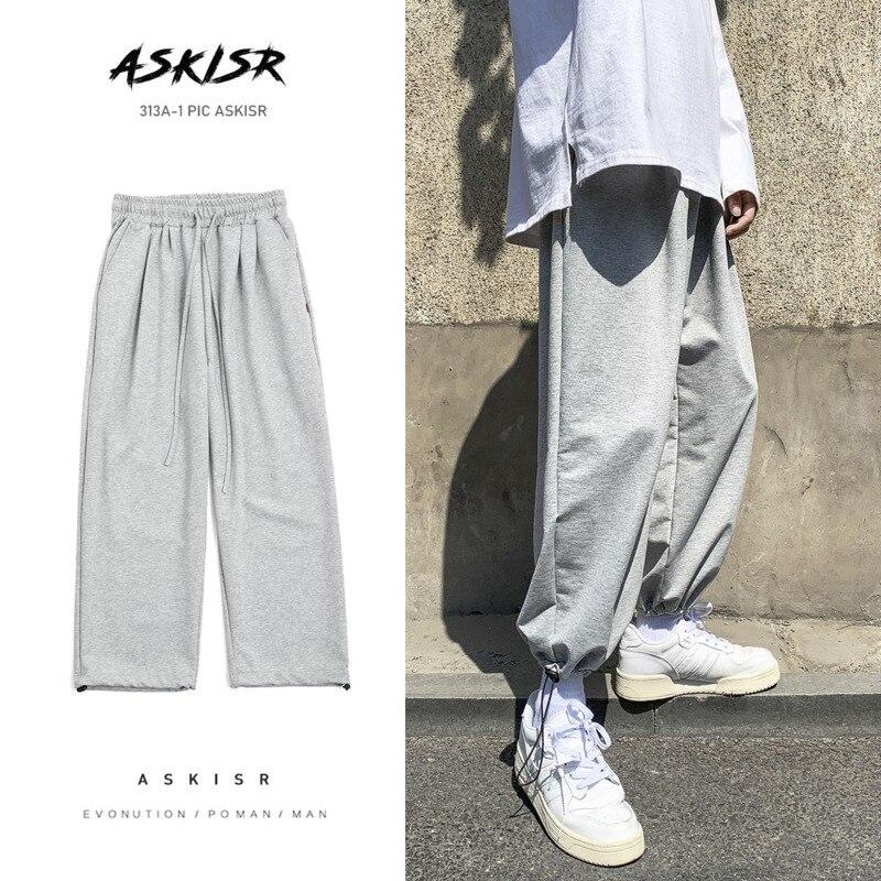 Cotton Sweatpants Men's Fashion Solid Color Casual Pants Men Streetwear Joggers Track Pants Mens Wild Loose Straight Trousers