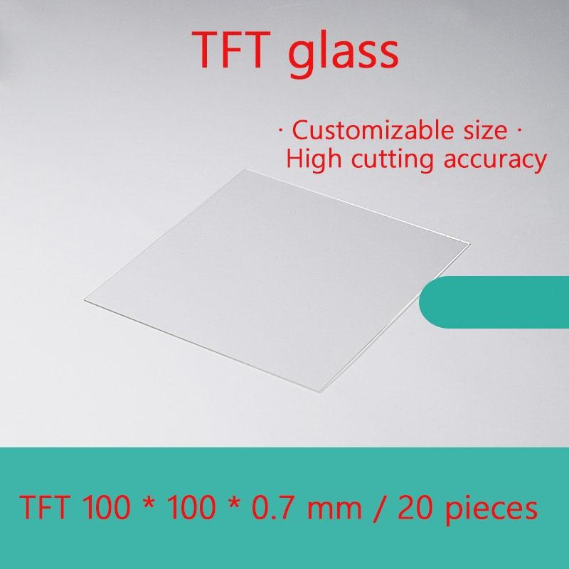 20 قطعة/صندوق مختبر عالية ضوء انتقال/عالية درجة الحرارة المقاومة TFT-LCD مجانا القلوي الزجاج 100*100*0.7 مللي متر