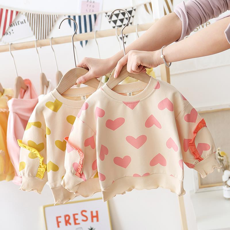 Spring Autumn Cute  Baby Girl T-shirt, Polka Love Pullover Long Sleeves & Ruffles Tops, Cotton T-Shirts Kids