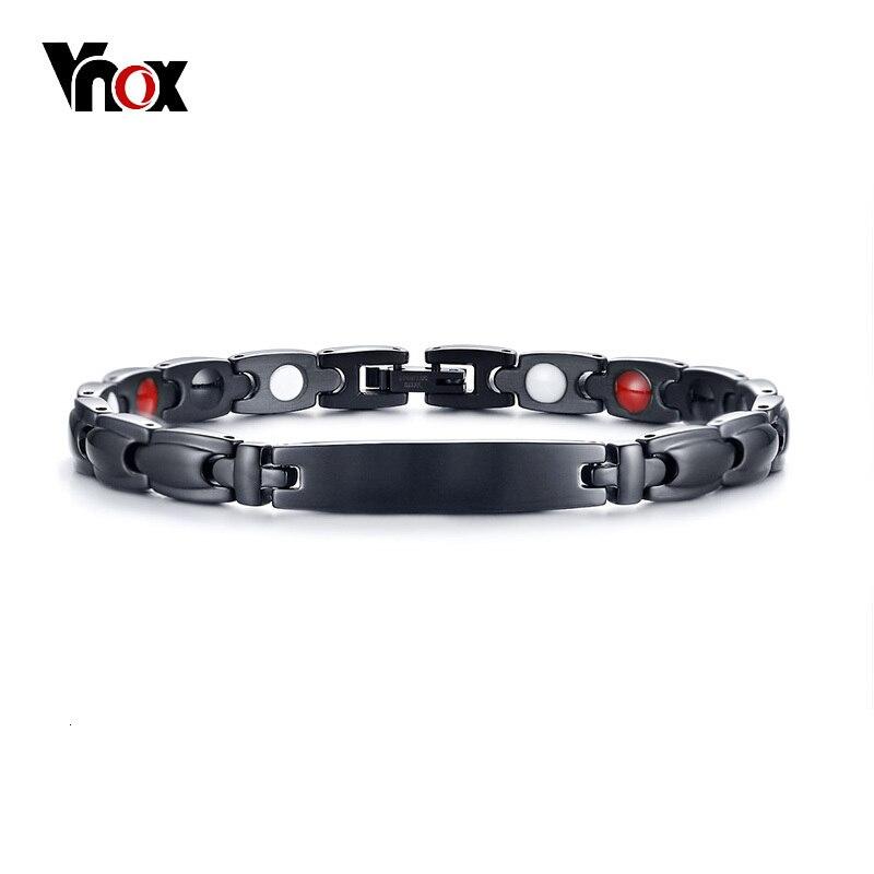 "Vnox Black Health Bracelets Bangles for Women Men Magnetic Stainless Steel Bio Energy Germanium Bracelet Unisex Jewelry 7.87"""