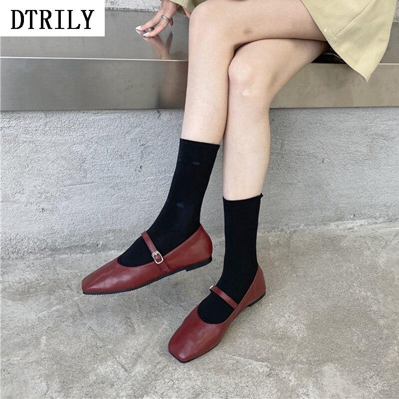 Botas De calcetín De retales para Mujer, Zapatos planos informales De Zapatos Mary Jane con hebilla y puntera cuadrada, Zapatos elásticos para botas, nuevos Zapatos De Mujer