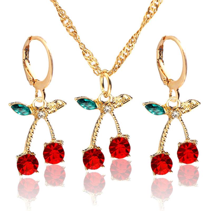 Flatfoosie, collar coreano con colgante de cereza de cristal bonito para mujer, estético rojo, accesorios de fiesta para chica dulce, regalo de joyería de moda