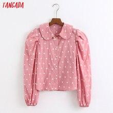 Tangada femmes rétro rose points broderie blouse à manches longues doux col claudine chemise blusas femininas 6Z43