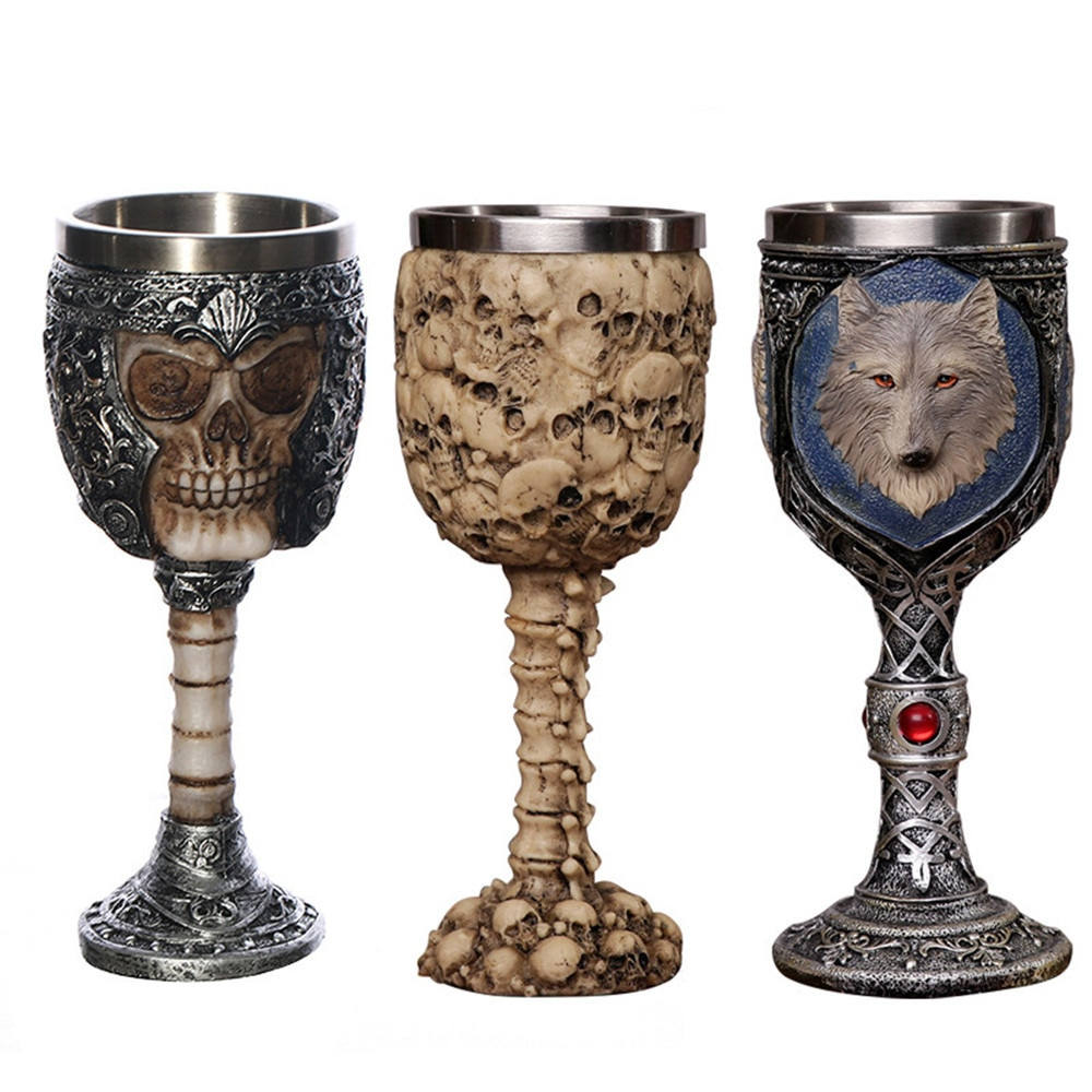 3D casco gótico cráneo/cabeza de lobo Copa taza diseño único Café té cerveza Drinkware Horror decoración regalo para hombres Halloween