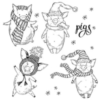 new2021 make variety cartoons christmas pigs decoration scrapbooking paper background stamps frame card craft no cutting die