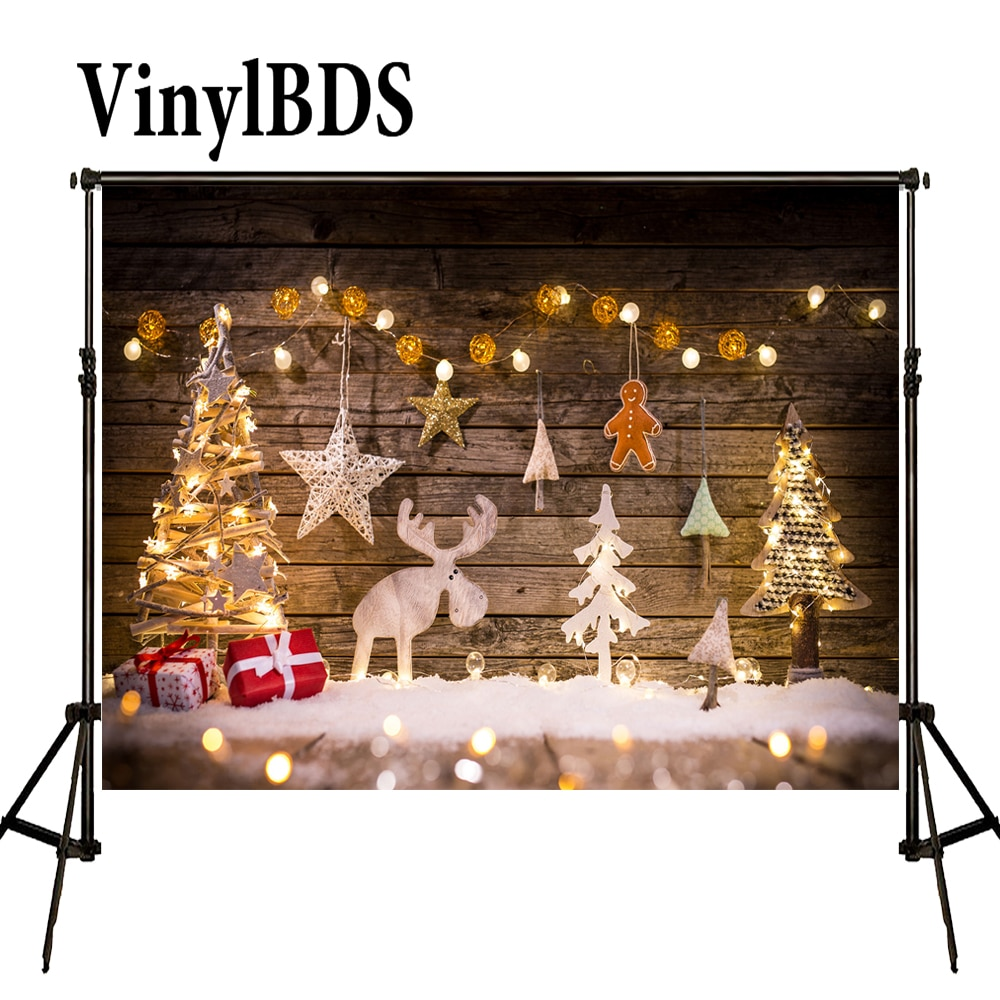 Vinylbds natal elk backdrops fotografia retro bokeh backdrops lanterna de madeira crianças gingerbread pano de fundo para estúdio foto
