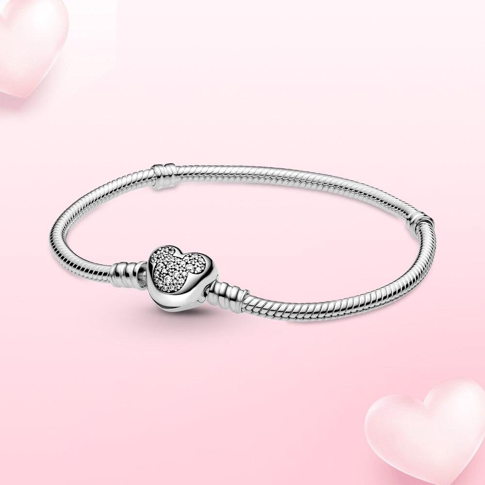 الفضة سوار لحظات ماوس القلب المشبك ثعبان سلسلة سوار للنساء Charm بها بنفسك ساحرة حبة مجوهرات الأزياء