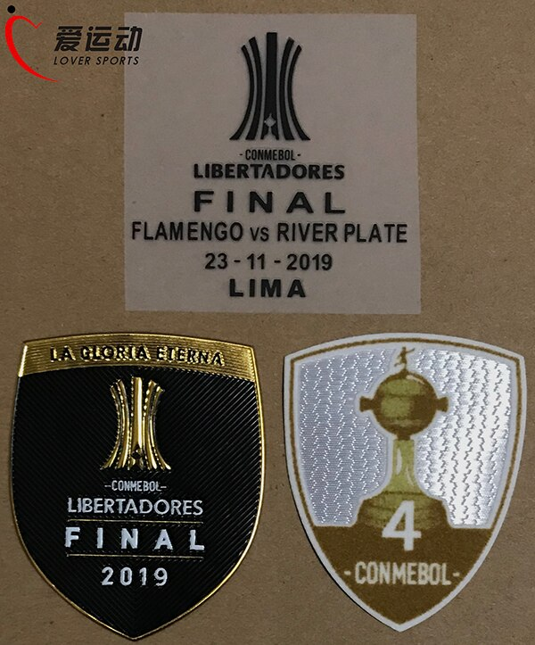 2019 FINAL COPA LIBERTADORES río parche de matrícula SET 2019 CONMEBOL LIBERADORES detalles del partido Final + Trofeo 4 parche