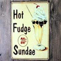 hot fudge sundae retro metal tin sign vintage cafe bar club decor metal craft