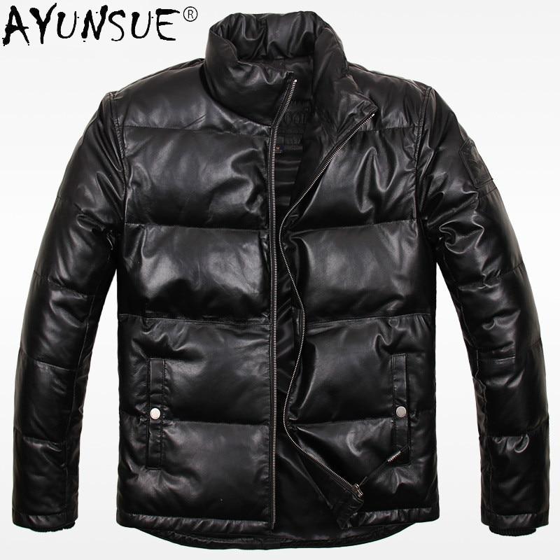 AYUNSUE-معطف شتوي من جلد الغنم للرجال ، معطف سميك بياقة واقفة ، LXR904