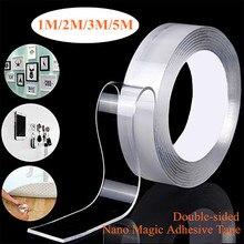 Cinta adhesiva acrílica transparente reutilizable de doble cara Nano sin rastro 1M/2M/3M/5M cinta adhesiva impermeable limpia