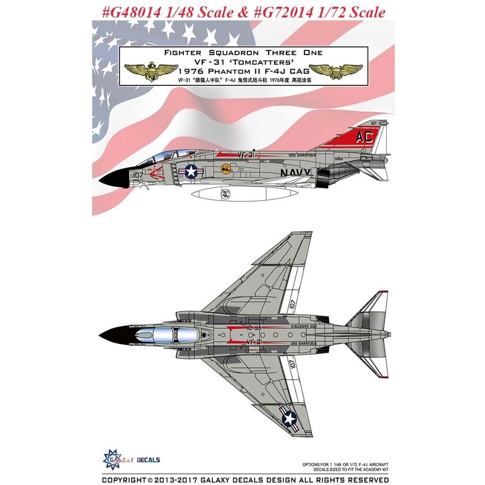 GALAXY G48014 G72014 1/48 /172 escala F-4J VF-31 Tomcatters 1976 etiqueta para la Academia modelo de avión