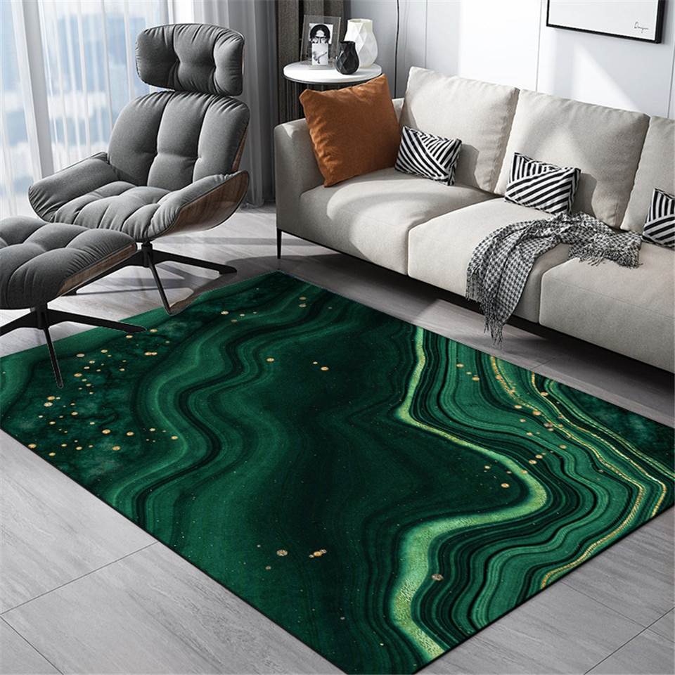 Nórdico moda luxo verde rock padrão tapete casa cabeceira tapete europa cozinha tapetes lavável do banheiro